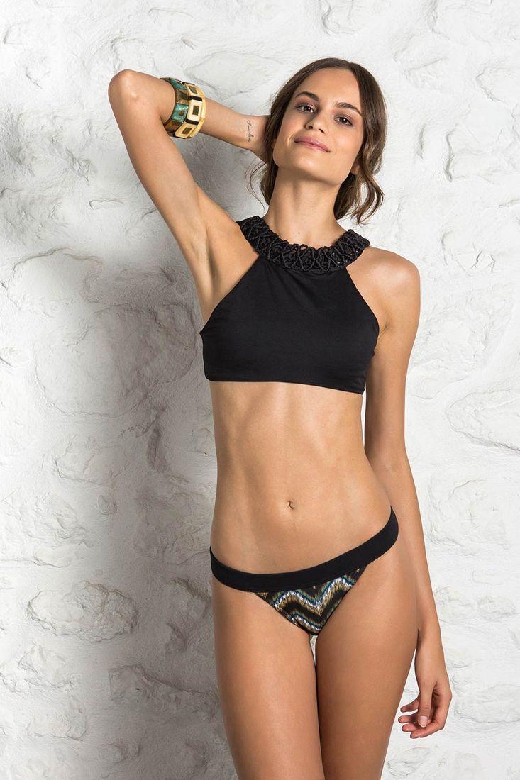 ef32de4f3ed Bikini σετ μαύρο με εμπριμε σλιπ - Cocomo