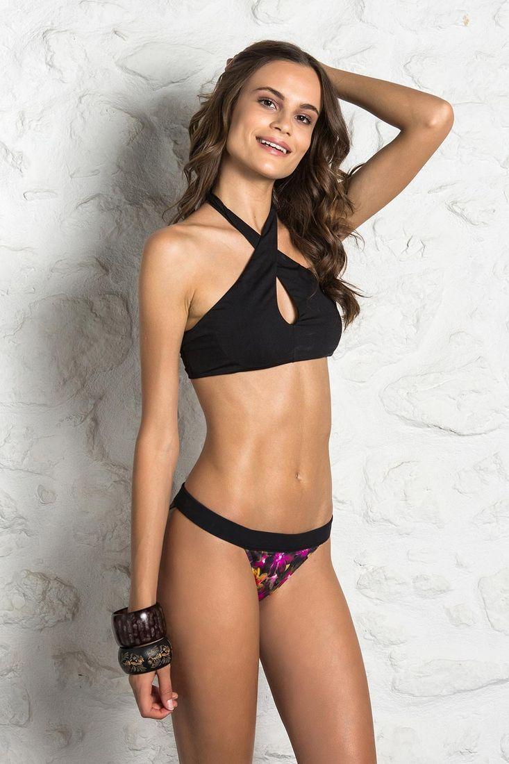 e70a0ad7124 Bikini σλιπ Brazil εμπριμέ με μαυρο λάστιχο - Cocomo